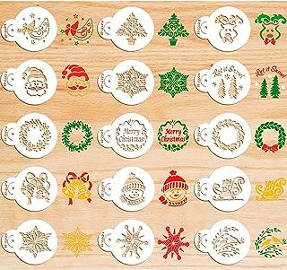 30 Pieces Christmas Cookie Stencils Fondant Cupcake Stencil Set Decorative Stencils Cake Tool
