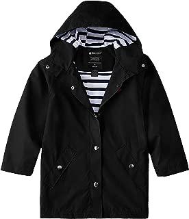 Boys and Girls Waterproof Long Rain Jacket Lightweight Hooded Raincoat