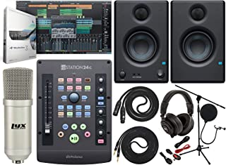 PreSonus ioStation 24c 2x2 USB-C Audio Interface and Production Controller With Eris E3.5 Pair 2-Way Monitors and Professional Microphone Kit