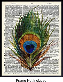 Upcycled Dictionary Wall Art Print - Vintage 8x10 Unframed Photo - Makes a Great Gift - Chic Home Decor - Peacock Feather