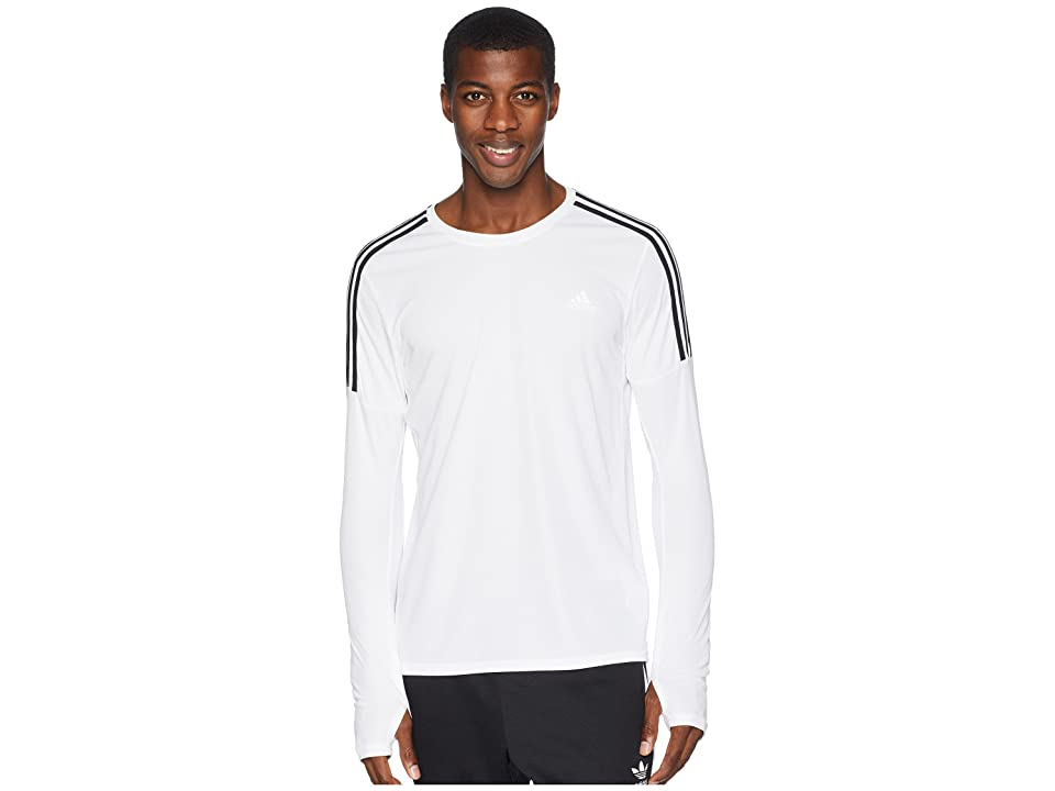 adidas 3-Stripes Run Long Sleeve Tee (White) Men