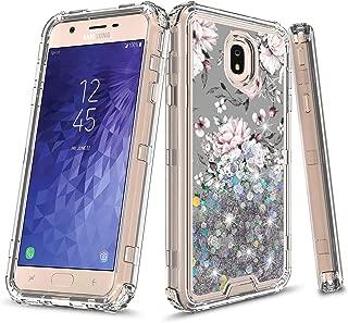 Samsung Galaxy J3 2018/J3 Achieve/Express Prime 3/Amp Prime 3/J3 Star/j3 Orbit/Sol 3/J3V 3rd Gen/J3 Aura Case, Onyxii 3in1 Graphic Design Quicksand Liquid Floating Case for SM-J337 (Flower)