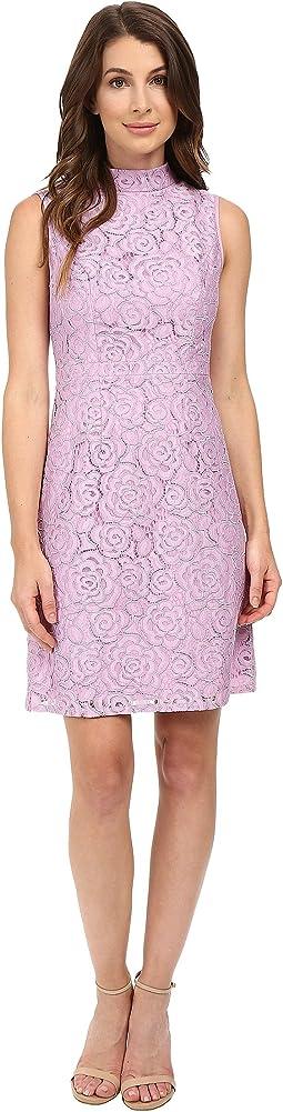 A-Line Mock Neck Juliet Lace Dress