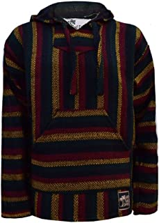 Baja Hoodie Mexican Pullover Poncho - Dark Rasta Chevron Pattern