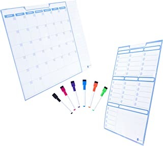 Dry Erase Monthly Calendar and Weekly Planner Set for Kitchen Refrigerator | Includes 6 Markers | Large Magnetic White Board for Smart Planners