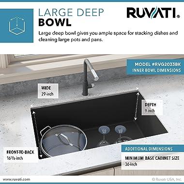 Ruvati 32 x 19 inch Undermount Granite Composite Single Bowl Kitchen Sink - Midnight Black - RVG2033BK