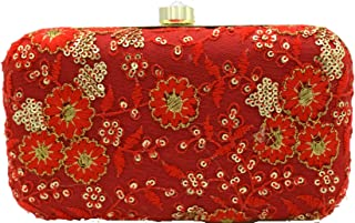 Tooba Women's Clutch (Red Floral)