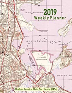 2019 Weekly Planner: Boston: Jamaica Plain, Dorchester (1954): Vintage Topo Map Cover