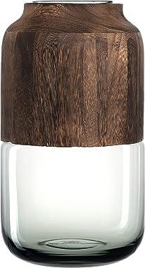 Leonardo Colletto Blumen-Vase, handgefertigte Deko-Vase in Grau, runde Tisch-Vase mit Holz-Aufsatz, Höhe: 320 mm, 029904