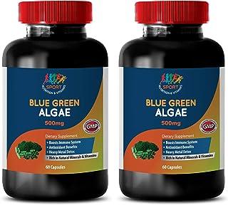 Potassium Magnesium Supplement Capsules - Organic Blue Green Algae 500mg - spirulina chlorella Powder caps - 2 Bottles 120...