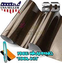 JDMBESTBOY Free Tool Kit 2D High Gloss Glossy Premium Gold Carbon Fiber Vinyl Wrap Sticker Decal Film Sheet (Bubble Free) - 12