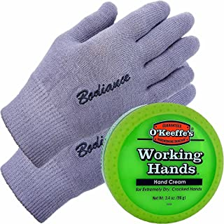 Hand Cream for Dry Cracked Hands and Hand Repair Gloves Bundle: O'Keeffe's Working Hands Cream (Unscented, Non-Greasy 90ml...