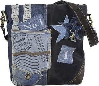 Sunsa Damen Tasche Umhängetasche Handtasche Canvas & Leder Bag mit Jeans Taschen Denim klein Schultertasche Damentaschen V...