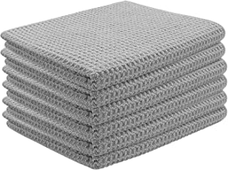 HOMWE Fast Drying Microfiber Kitchen Towels Set, 6 Pack Waffle Weave Towel, Ultra-Soft and Super Absorbent, Decorative Hand and Dish Cloths for Drying and Cleaning Surfaces, 15 x 25 Inch