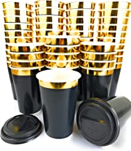 Gold Rim 16oz Double Wall Coffee Cups 200 pcs - Disposable Paper Cup with Lids - Insulated black design to go for hot beverage - Multi-purpose Leak Proof Container � ELEGANT GOLD DESIGN