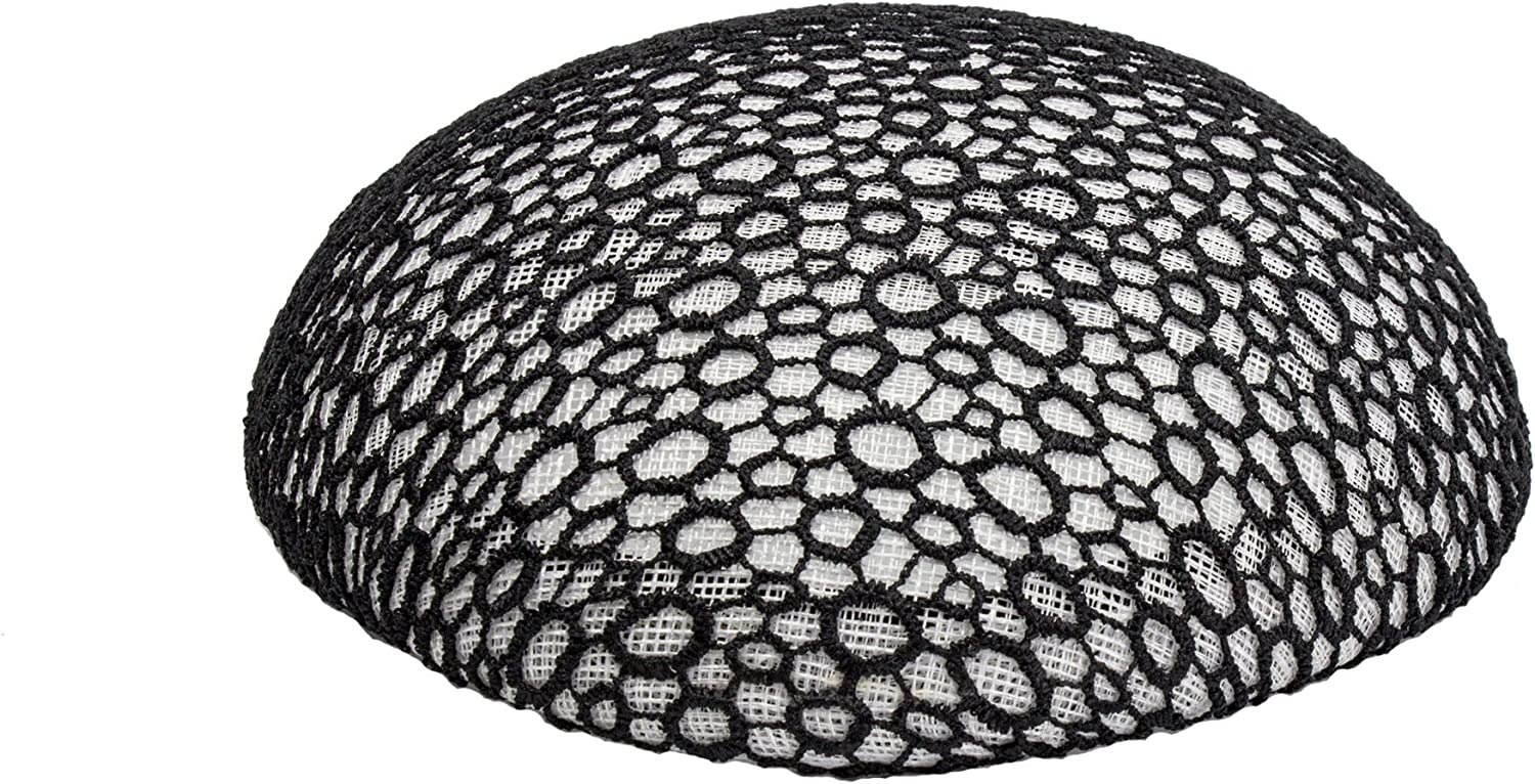 Sinamay Button with Black Lace Hat Base