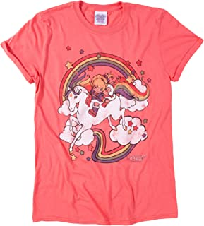 Womens Rainbow Brite Clouds Rolled Sleeve Boyfriend T Shirt - 80s Cartoon Tees