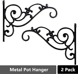 Sharpex Design Black Wall Bracket Hanger for Garden Pots, Hanging Flower Pots, Bird Feeder Bracket - Black (Set of 2)