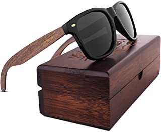 Woodies Walnut Wood Sunglasses with Polarized Lens in Wood Display Box for Men and Women