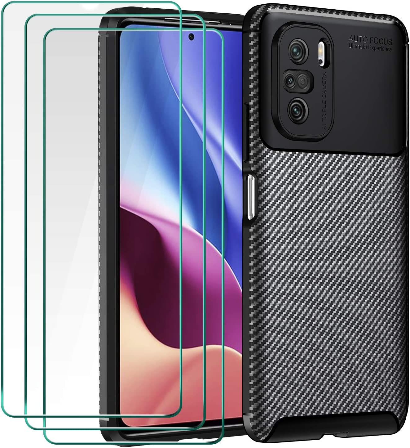 ivoler Funda para Xiaomi Poco F3 5G / Xiaomi Mi 11i, con 3 Unidades Cristal Templado, Fibra de Carbono Carcasa Protectora Antigolpes Negro, Suave TPU Silicona Caso Anti-Choques Case Cover