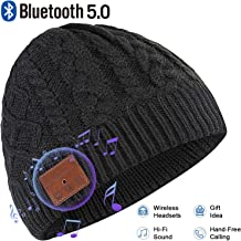 Deegotech Bluetooth Beanie Hat, Bluetooth 5.0 Wireless Smart Beanie Headset Musical Knit Hat for Men Women, Built-in Mic Headphone Speakerphone Cap for Christmas Birthday Gifts, Black