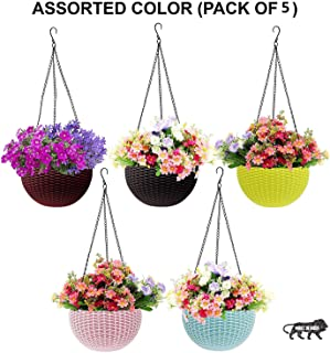 Go Hooked Multicolor Round Rattan Woven Plastic Flower Hanging Planter/Beautiful Round Gamla Pot/Flower Hanging Pot for Garden Balcony (Multicolor, Pack of 5)
