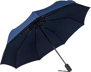 Bagail Compact Auto Open/Close Travel Umbrella Windproof Umbrella with Teflon Coating(Navy)