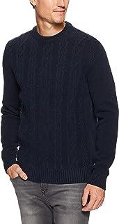 Ben Sherman Men Cable Front Crew Neck Knit