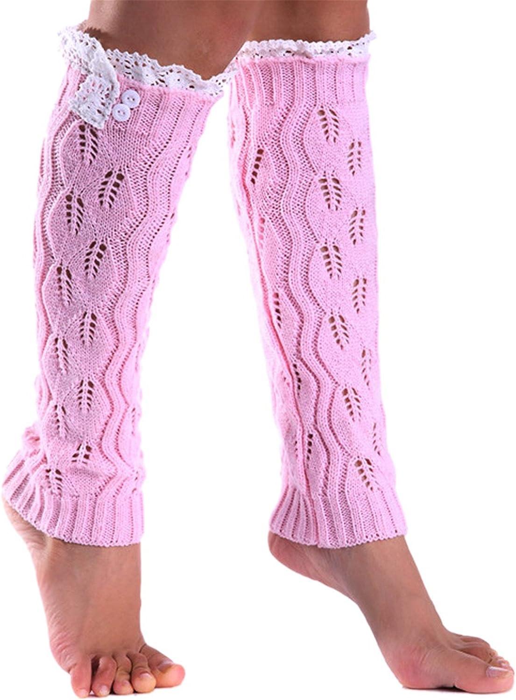 WIIPU women's Sweet Hollow Leaf Design Leg Warmer Lace Trim Topper Boot(st146)