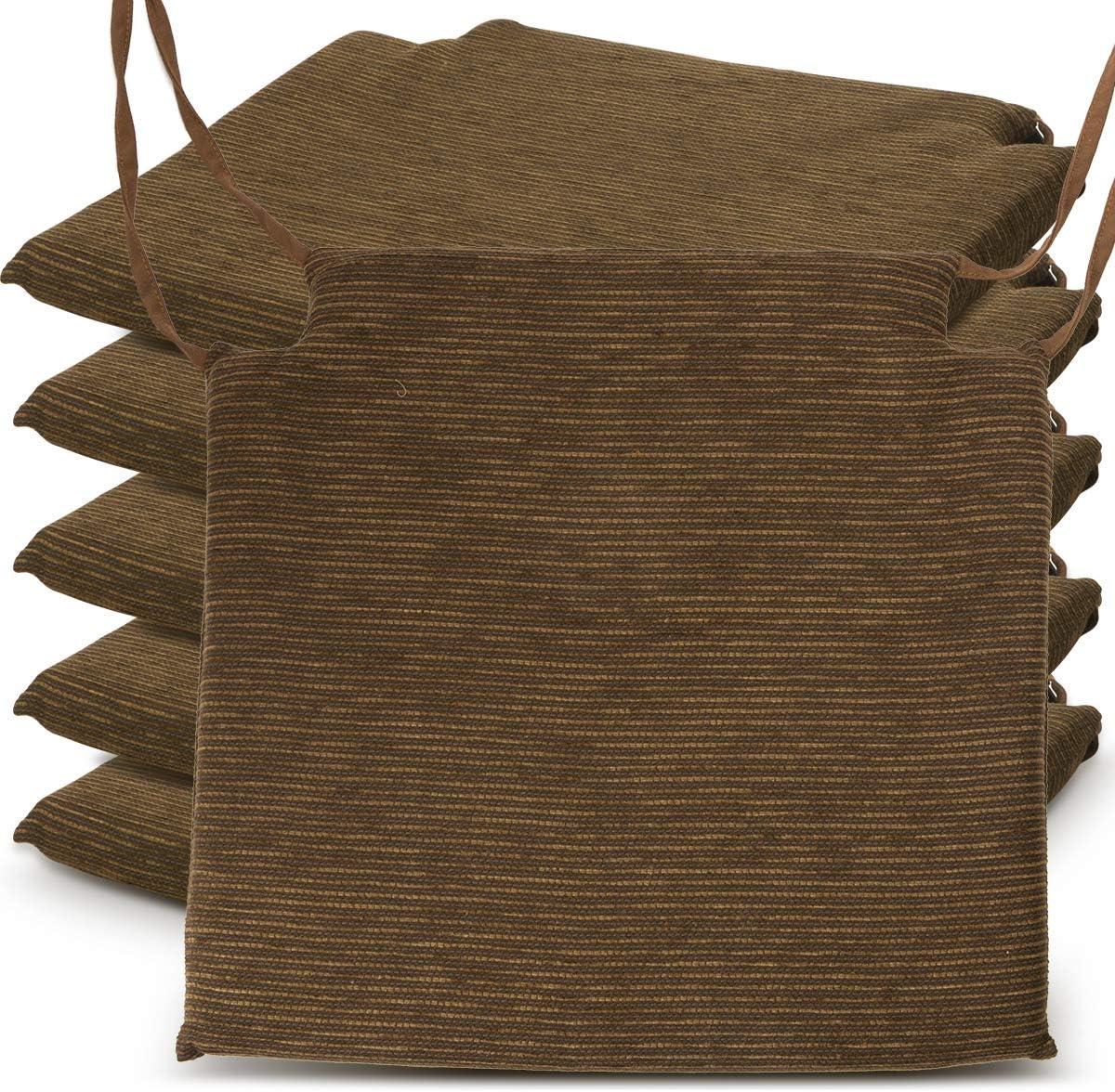 BCASE, Pack de 6 Cojines de Asiento y Silla Espuma Fantasy, 40x40cm, Desenfundable con Cremallera, Cómodos, Resistentes, Fácil de Limpiar, para Cocina, Cuarto,Etc. Marrón