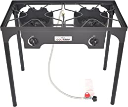 COOKAMP High Pressure 2-Burner Outdoor Camp Stove with 0-20 PSI Adjustable Regulator and Steel Braided Hose [ 2018 New Model ] SA2500