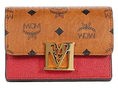 MCM Mena Visetos Leather Block Flap Wallet/Trifold Mini (Ruby Red) Handbags