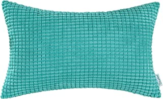 CaliTime Cozy Bolster Pillow Cover Case for Couch Sofa Bed Comfortable Supersoft Corduroy Corn Striped Both Sides 12 X 20 Inches Turquoise