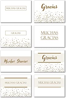 Spanish Folding Gold Ink Thank You Cards with Envelopes - Pack of 48 - Metallic Gold in 8 Unique Designs