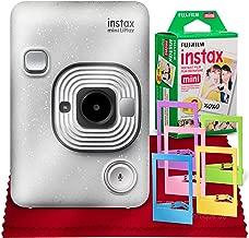 Fujifilm INSTAX Hybrid Mini LIPLAY (Stone White) + Fujifilm Instax Mini Instant Film (20 Shots) + Accessory Bundle (USA Warranty)