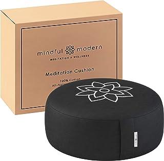 Mindful and Modern Large Meditation Cushion Pillow - Zafu Yoga Bolster Meditation Pillows for Sitting On Floor - Buckwheat...