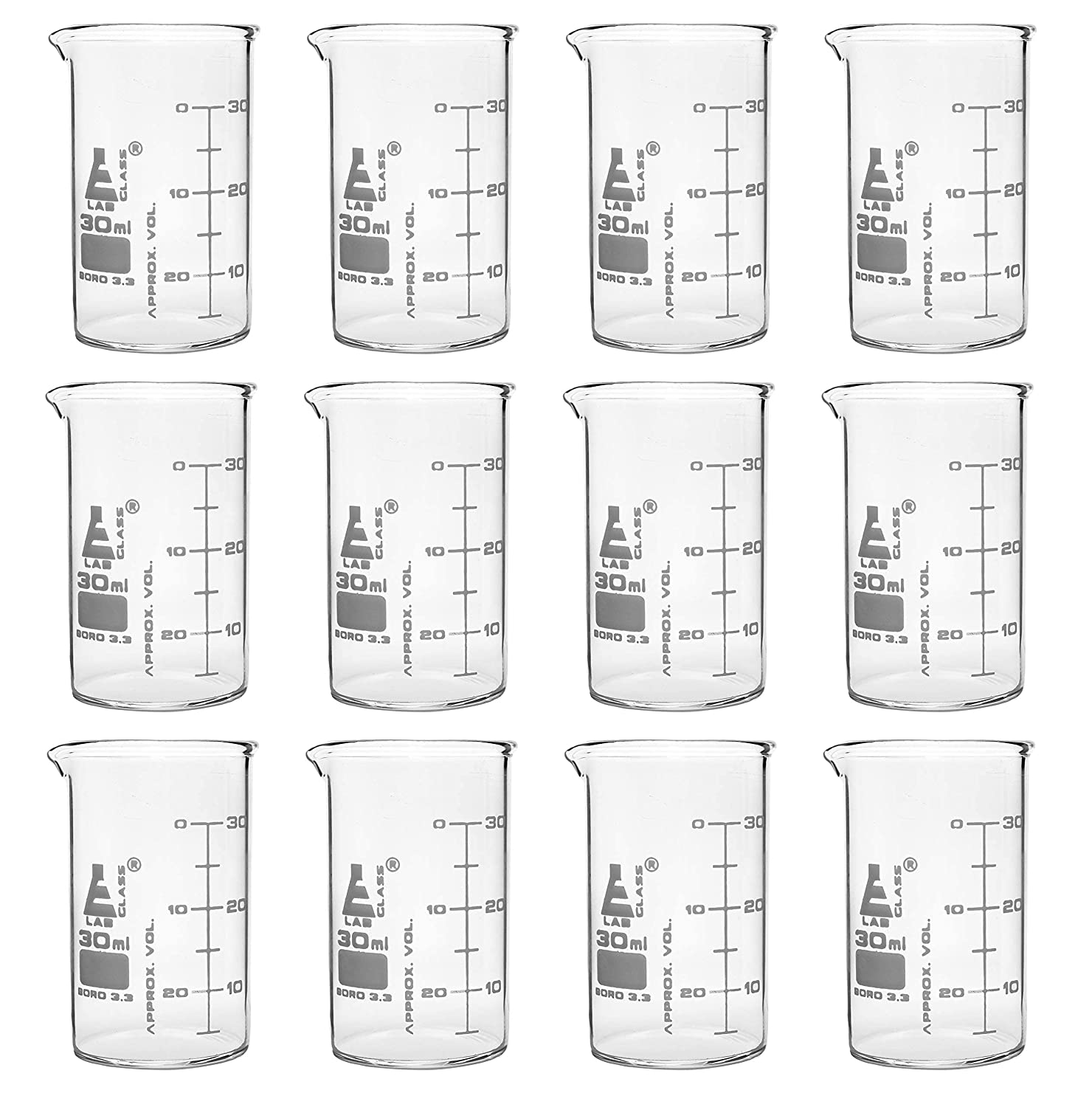 12PK Beakers 30ml Reservation - ASTM Low Wh Form Dual Scale Spout outlet with