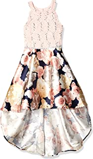 Girls' Big 7-16 High-Low Party Dress with Scalloped Edge Bodice