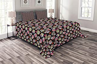 Ambesonne Sugar Skull Bedspread, All Souls Day Floral Colorful Sugar Skulls Flowers on Dark Background Print, Decorative Quilted 3 Piece Coverlet Set with 2 Pillow Shams, Queen Size, Black Fuchsia