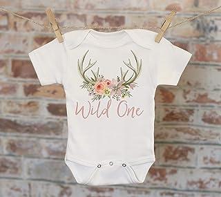 755aa31a6 Wild One Floral Antlers in Script Onesie®, First Birthday Onesie, Rustic  Onesie,