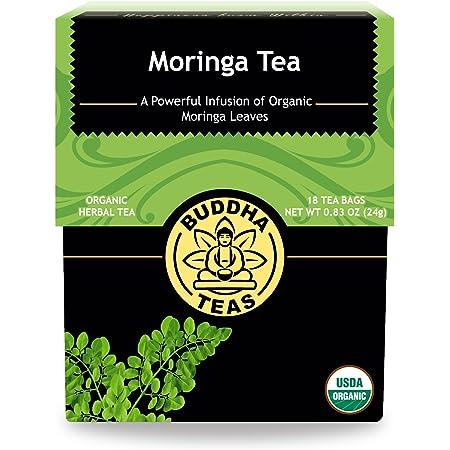 Organic Moringa Tea – 18 Bleach-Free Tea Bags – Caffeine-Free, Great Source of Vitamins, Antioxidants and Flavonoids, Chemical-Free Herbal Tea with no GMOs, Kosher