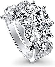 BERRICLE Rhodium Plated Sterling Silver Princess Cut Cubic Zirconia CZ 3-Stone Filigree Leaf Engagement Wedding Ring Set 2.12 CTW