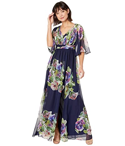 Adrianna Papell Printed Chiffon Evening Gown (Navy Multi) Women