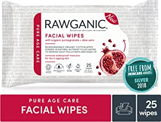 Rawganic Organic Anti-aging Dry Skin Hydrating Facial wipes, Fragrance-free Travel Wipes Plant-based Biodegradable Organic Cotton Towelettes, Moist Wipes (25 wipes/pack)