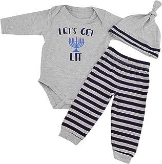 Unique Baby Boys Lets Get Lit Hanukkah Layette Set with Cap