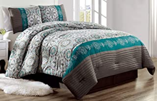 Grand Linen Luxury 3 Piece Bedding Pin Tuck Comforter Set in Dark Grey, Teal Blue and Gold - Twin Size Set