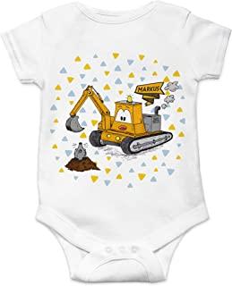 STINKSANDSTANKS Baby Body Strampler Bagger mit Wunschname Geschenk Geburt BS006
