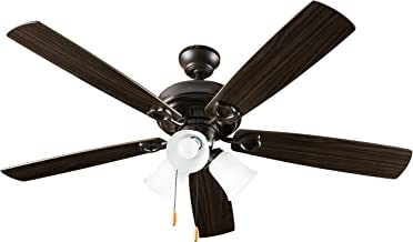Hyperikon Indoor Ceiling Fan with Lights, 52-Inch Brown Ceiling Fan, Five Reversible Blades, Three Lights with Pull Chain - Bulb Not Included