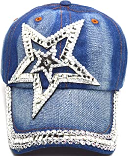 AblessYo Denim Hats Rhinestone Studded Sparkly Bling Baseball Cap Women AYO1100