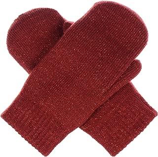 BYOS Unisex Winter Toasty Warm Solid Glitter Fleece Lined Knit Mitten Gloves